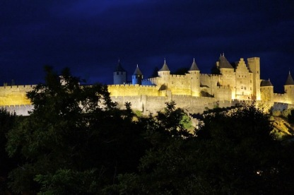 Medieval city by night